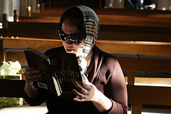 What on earth is she reading?